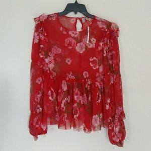 Sheer floral red blouse